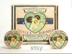 1900s Tiny Powder Box Soul Kiss Antique Mini Art Nouveau Ring Box Angel Kiss Shabby Romantic Celestial Decor Cherub Angel Pillbox Gift RARE