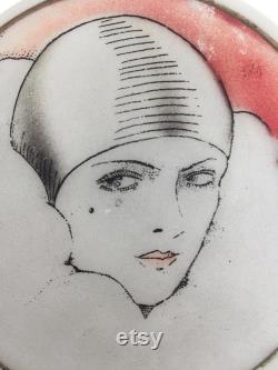 1920s Pierrot powder bowl Art Deco vintage antique