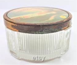 1950s Niagara Falls Souvenir Powder Jar, Dresser Jar, Trinket Box, Trinket Dish, Illuminated Falls Vintage