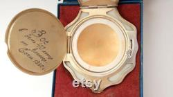 1960 Vintage USSR Soviet Gilt Sterling Silver 875 Compact Puff Powder Box Shell