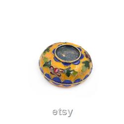 1 Pc Chinese Cloisonne Jewelry Box Floral Powder Box Handmade Charm Gift