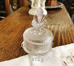 34.95 HoBNaiL GLASS PoWdER BoX, DIAMOND POINT, TrINKET JewELRY BoX, ArT DeCO pLUME Finial, VaNITY AccENT, VinTage EnGLiSH HoBnAiL