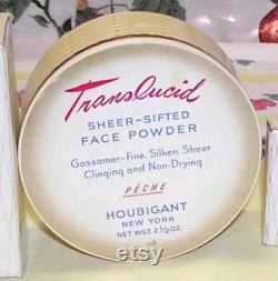 40s HOUBIGANT Face Powder Box Art Deco Shabby French Floral Vanity Makeup Paris Chic Beauty Decor Flower Basket Paper Anniversary Gift NOS