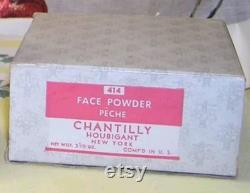40s NEW CHANTILLY Face Powder Box by HOUBIGANT Shabby French Pink Lace Vanity Beauty Box 1950s Makeup Cosmetics Girly Vanity Decor Gift Prop