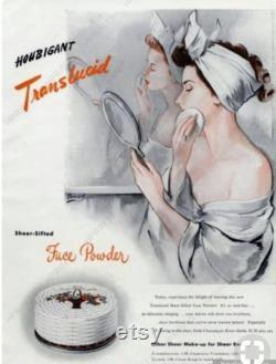 40s NEW HOUBIGANT Powder Box Art Deco Shabby French Floral Makeup Paris Beauty Vanity Decor Flower Basket Face Powder Box Mothers Day Gift