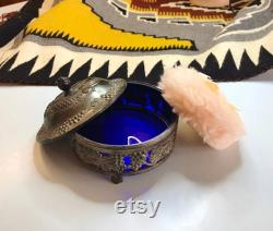95.00 METAL POWDER BOX, Silver FruiT and GraPe Leaves, bLue CobALt GLaSS Liner, ViNTAGE PinK PoWder Puff, MaDE in JaPaN, VaNiTy JEWeLRY BoX