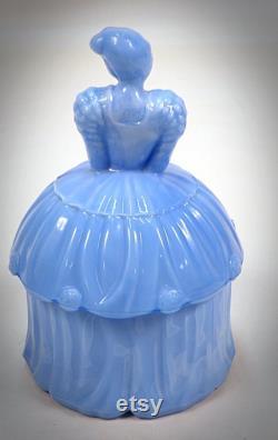 Akro Agate Blue Delphite Slag Glass Colonial Lady Powder Jar Trinket Puff Box