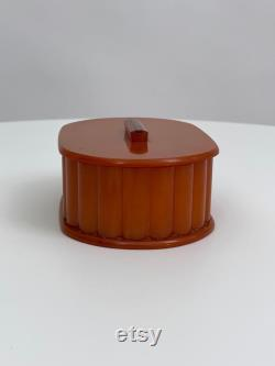 Antique 1930s double powder box butterscotch coloured early plastic