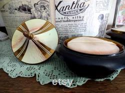 Antique Art Deco Bakelite Musical Powder Bowl Jalco Swiss Movement Lili Marlene 1930s 1940s Music Box Vanity Dressing Table Item