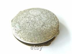 Antique Art Nouveau POWDER BOX Etched Sterling Silver Compact Monogramed RK Vanity Collectible All-Over Floral Etchings