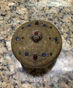 Antique Bronze with Czech Glass Crystal Rhinestone Jewels Huge Powder Jar 5 1 2 in Duameter