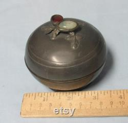 Antique Chinese Pewter Dish with Jade and Carnelian on Lid Trinket Vanity Powder Box Round circa early 1900s