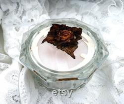 Antique Clear Glass ladies Powder Jar 1920s Art Deco Painted Rose and Leaves Pattern on top Hand Painted Octagonal Beveled Top Vanity Table