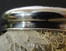 Antique Cut Glass Powder Jar with Floral Silver Lid and Monogram, Vanity Dresser Jar Dressing Table Jar Vanity Decor, Monogrammed Powder Jar