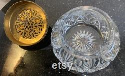 Antique Czech Glass Crystal Jeweled Gold Ormolu Filigree Powder Jar 5 Diameter