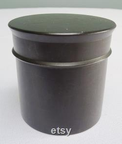 Antique Ebony Lidded Pot Victorian Edwardian Dressing Table Dresser Black Wood Treen Edwardian