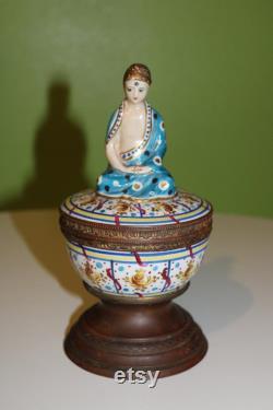 Antique French Asian-Style Buddha Swami Vanity Powder Box Jar