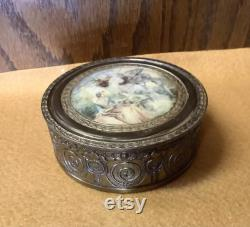 Antique French Bronze With Beautiful Art Work Top And Glass Insert Vanity Powder Jar 4 1 2
