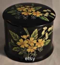 Antique French Chinoiserie Powder Box and Swan Down Powder Puff