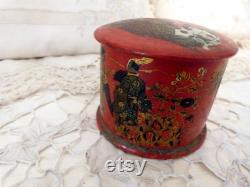 Antique French paper mache powder box lacquered papermache box w painted chinoiserie Napoleon III decor papiermache papier mache lacquer box