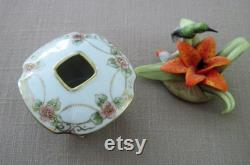 Antique Hand Painted Nippon Porcelain China Hair Receiver Circa 1910's