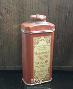 Antique Mary Garden Toilet Powder Parfum Talcum, Red Tin with Wonderful Graphics by Rigaud Paris with 1 3 of Fragrant Talcum Remaining