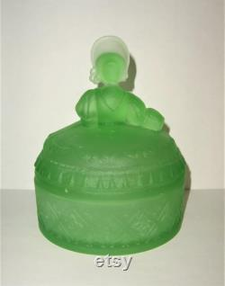 Antique POWDER JAR Green Satin Glass Southern Belle Lady Dermay Fifth Ave NY 972 L E Smith Greensburg Vintage Vanity Figural Jewelry Box