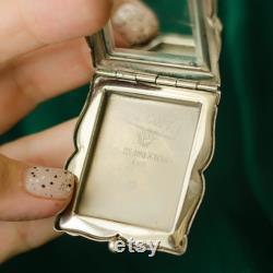 Antique Powder Box, Compact Mirror, Soviet Era Pill Box Vintage