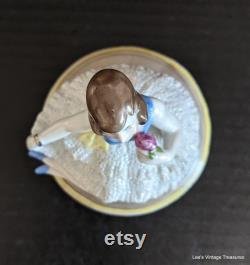 Antique Powder Dish, Vanity Jar, Dresser Jar, Trinket Jar, Germany D R P, Flapper Doll, Half Doll Related, RARE find, Half Doll, PRISTINE