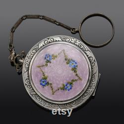 Antique Ripley and Gowan Sterling Silver Guilloche Enamel Powder Compact 52.4Grams