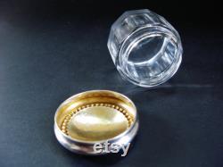 Antique Rouge Pot, Small Dresser Jar, Sterling Silver, Crystal