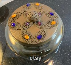 Antique SUPER RARE HUGE Hand Blown Art Glass Vanity Jar With Czech Glass Jeweled Gold Ormolu Filigree Lid Vanity Jar 6