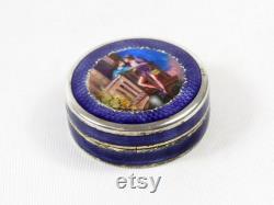 Antique Swiss Guilloche Enamel Sterling Powder Vanity Box-1900s