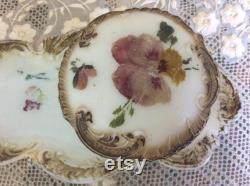 Antique Victorian Milk Glass Vanity Tray and Powder Box, Hand Painted Pansies