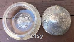 Antique Victorian Shreve and Co Sterling Powder Box, Silver Plate Powder Box, Cut Pressed Glass, Glass paperweight, 1850 s, American Victorian