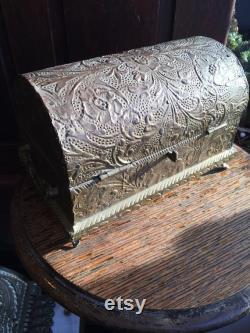 Antique Victorian Treasure Chest Trinket Box Jewelry Casket Wood Tin Red Velvet