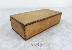 Antique Wizard Brand Flemish Art Pyrography Wood Box by LF Grammes glove box, tie box, hanky box