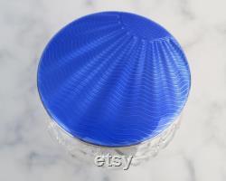 Antique blue guilloche sterling silver ( 1931 Birmingham England ) covered art deco cut glass vanity dresser jar