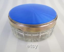 Antique blue guilloché sterling silver with gold vermeil (1939 London England) covered cut glass vanity dresser jar