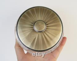Antique gold foil enamel sterling silver Birmingham England 1939 covered vanity dresser jar with mirror in the lid