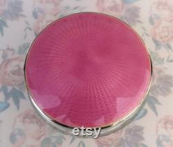 Antique large pink guilloché sterling silver covered floral and ribbons etched crystal vanity dresser jar