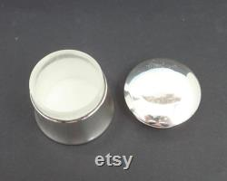 Antique sterling silver powder jar with gilded lid, perfectly plain, Birmingham, 1912