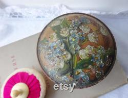 Antique treen powder pot and puff folk art wooden pot hand painted lily of the valley, forget me knot and bows lambswool and silk puff