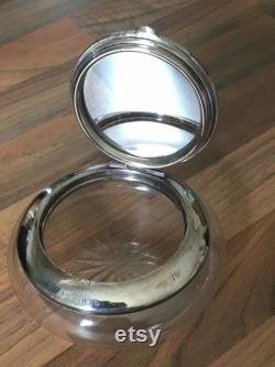 Art Deco Hallmarked Solid SilverTortoise Shell Mirrored Poweder Glass Box B'gham 1928