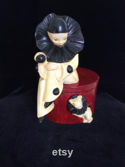 Art Deco Large Perriot with Dog Ceramic Powder Box