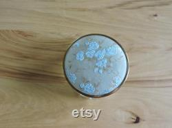 Art Deco Powder Jar, Glass Powder Jar, VIntage Vanity Dish withBlue, Gray and Gold Fabric and Metal Lid, Decorative Pressed Glass Dish and Cover
