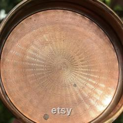 Art Deco Powder Jar, Sunburst Coral Enamelled Guilloche Copper Lid, Hand Cut Crystal, Star Base, Circa 1910, Charming Antique Gift, 3 x 4