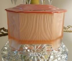 Art Deco Satin Glass Powder Box Nude Pinup All 4 Corners Vanity Dresser Trinket Box C. 1930's