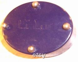 Art Deco Vanity Powder Box, Lucretia Vanderbilt Blue Butterfly Tin, Vintage 1930's Era