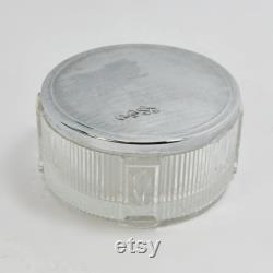 Art Deco Vintage Glass Metal Lid Powder Beauty Vanity Jar Dresser Tulip Decoration Engraved Initials